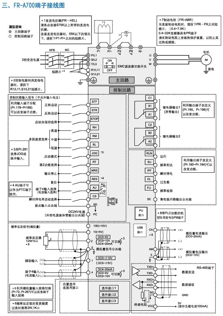 三菱变频器fr-a700端子接线图